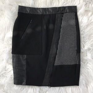 Black and white zip up skirt
